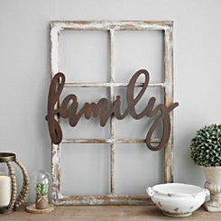 Natural Finish Family Wooden Script Plaque