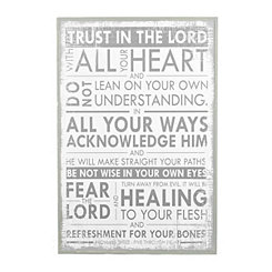 Trust in the Lord Whitewashed Wall Plaque