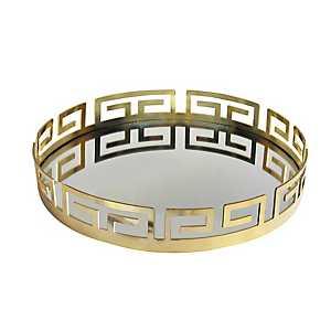 Gold Greek Key Mirrored Tray