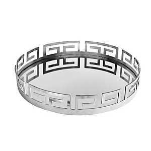 Silver Greek Key Mirrored Tray