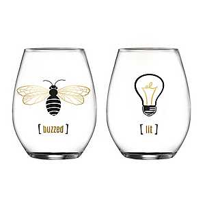 Lit and Buzzed Stemless Wine Glasses, Set of 2