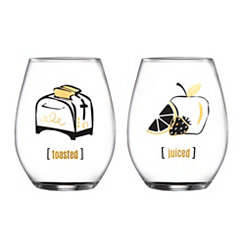 Toasted and Juiced Stemless Wine Glasses, Set of 2