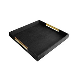 Black and Gold Handles Decorative Tray