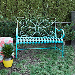 Turquoise Butterfly Metal Bench