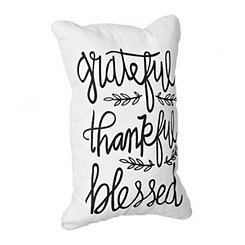 Grateful, Thankful, Blessed Outdoor Accent Pillow