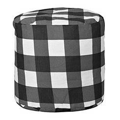 White Buffalo Check Outdoor Pouf