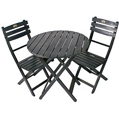 Black Wooden Bistro Set