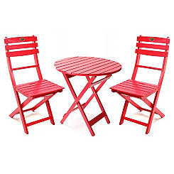 Red Wooden Bistro Set
