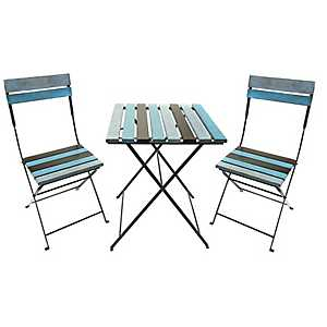 Turquoise and Brown Distressed Bistro Set