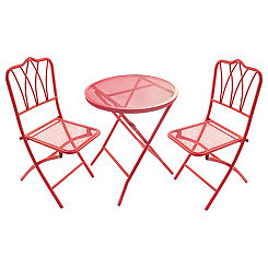Red Wrought Iron Bistro Set