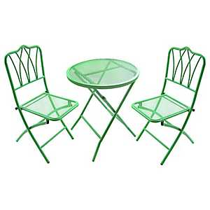 Green Wrought Iron Bistro Set