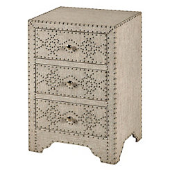 Tan Linen 3-Drawer Chest