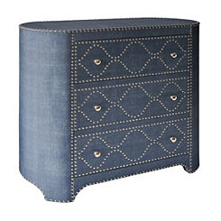 Blue Linen 3-Drawer Oval Chest