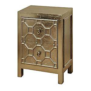 Metallic Champagne 2-Drawer Night Stand