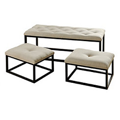 Black Metal Upholstered Benches, Set of 3