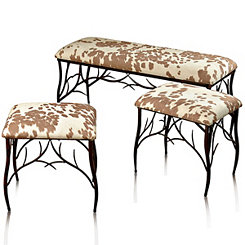 Berkshire Twig Metal Upholstered Benches, Set of 3