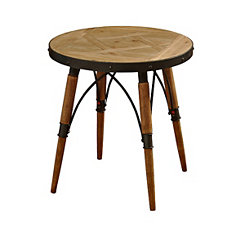Natural Rustic Wood End Table