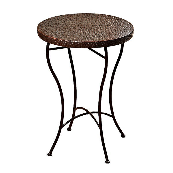 hammered copper round accent table - Outdoor Accent Tables
