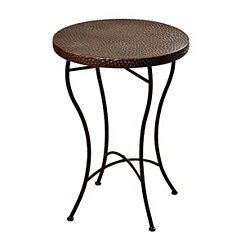 Hammered Copper Round Accent Table