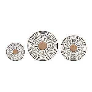 Metal and Wood Bowl Plaques, Set of 3