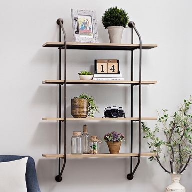 Iron And Wood Wall Shelf