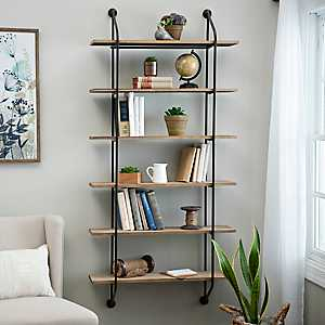 Iron and Wood Wall Bookcase