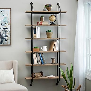 iron and wood wall bookcase - Modern Farmhouse Decor