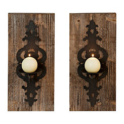 Maya Wood and Metal Wall Sconces, Set of 2