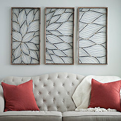 Abstract Floral Panel Plaques, Set of 3