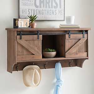 Barnwood Door Wall Shelf with Hooks