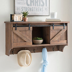 Barnwood Door Wall Shelf with Hooks