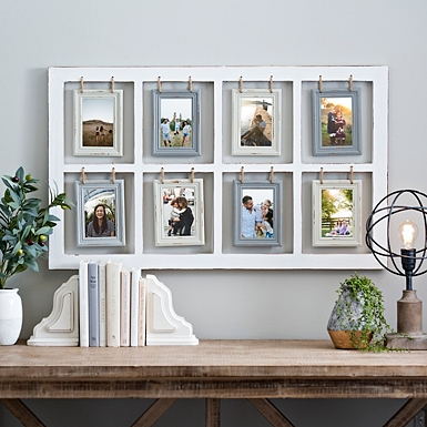 hanging rope windowpane collage frame - Window Pane Picture Frame