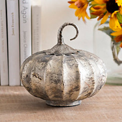 Gray Foil Glass Pumpkin, 8 in.