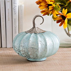 Light Blue Foil Glass Pumpkin, 8 in.