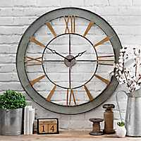 Galvanized and Gold Metal Open Face Wall Clock