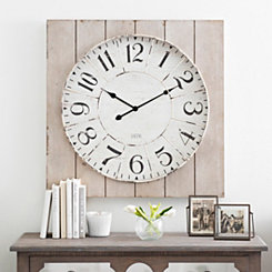 Washed Wood Plank Square Wall Clock
