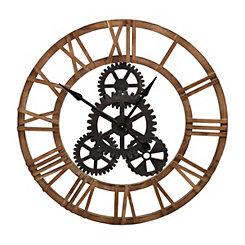 Fir Wood and Metal Gear Wall Clock