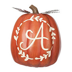 Carved Orange Monogram A Pumpkin