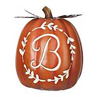 Carved Orange Monogram Pumpkins