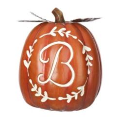 Carved Orange Monogram Pumpkins