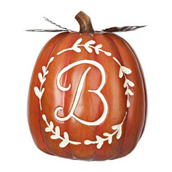 Carved Orange Monogram B Pumpkin