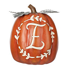 Carved Orange Monogram E Pumpkin