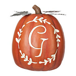 Carved Orange Monogram G Pumpkin