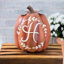 Carved Orange Monogram H Pumpkin