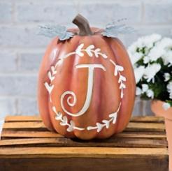 Carved Orange Monogram J Pumpkin