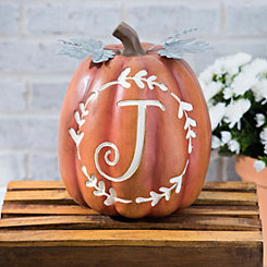 Carved Orange Monogram J Pumpkin
