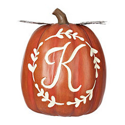 Carved Orange Monogram K Pumpkin