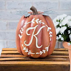 Carved Orange Monogram K Pumpkin