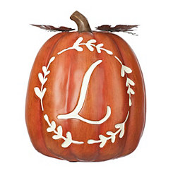 Carved Orange Monogram L Pumpkin