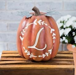 Carved Orange Monogram L Pumpkin